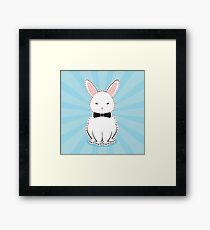White Bunny with Bow Framed Print