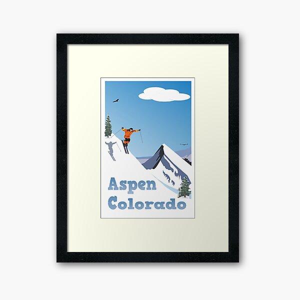 Aspen,Colorado,Rocky Mountain, Ski Poster Framed Art Print