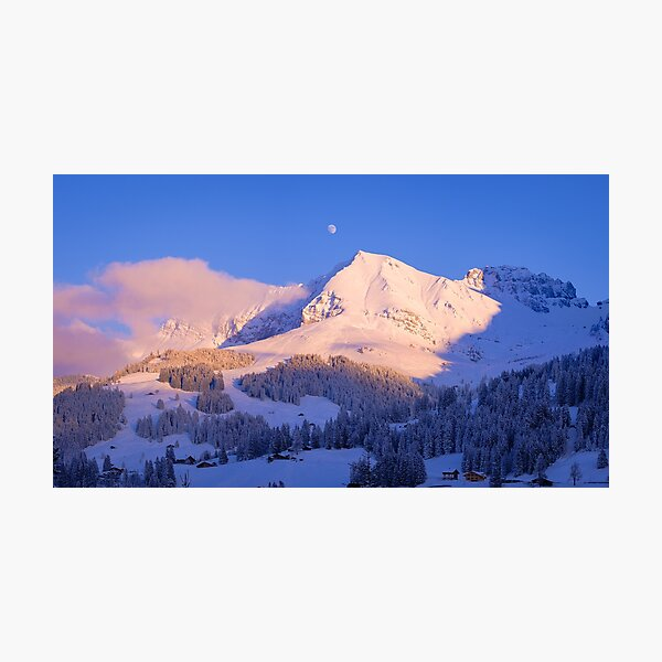 Bunderspitz and Moon, Adelboden, Switzerland Photographic Print