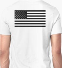 American Flag, STARS & STRIPES, USA, America, Black on white T-Shirt