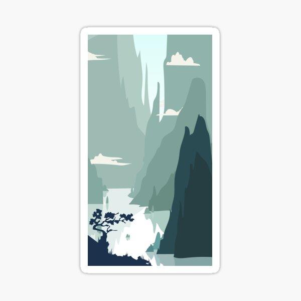 smartphone zen chinese landascape flat blue mountains Sticker