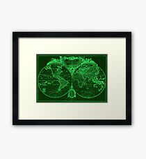 World Map (1775) Green & Light Green Framed Print