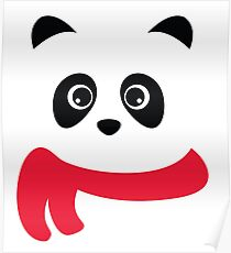 Cute panda with scarf Poster