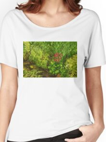 Impressions of Gardens - a Miniature Spring Creek with a Red Primrose  Women's Relaxed Fit T-Shirt