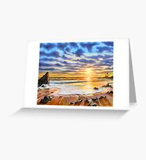 sunset on a tropical beach Greeting Card