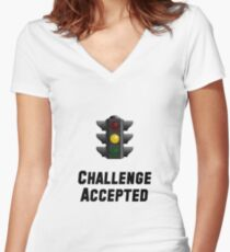 Challenge Accepted Light Women's Fitted V-Neck T-Shirt