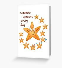 Cute funny sea star among little ones Greeting Card