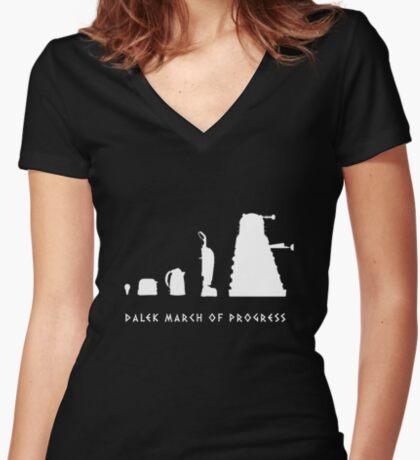 Dalek March of Progress White Women's Fitted V-Neck T-Shirt