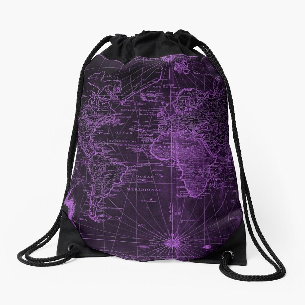 World Map (1778) Black & Purple Drawstring Bag