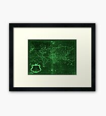 World Map (1778) Dark Green & Light Green  Framed Print