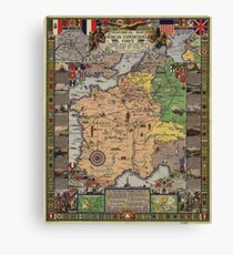 American Expeditionary Force World War I Map Canvas Print