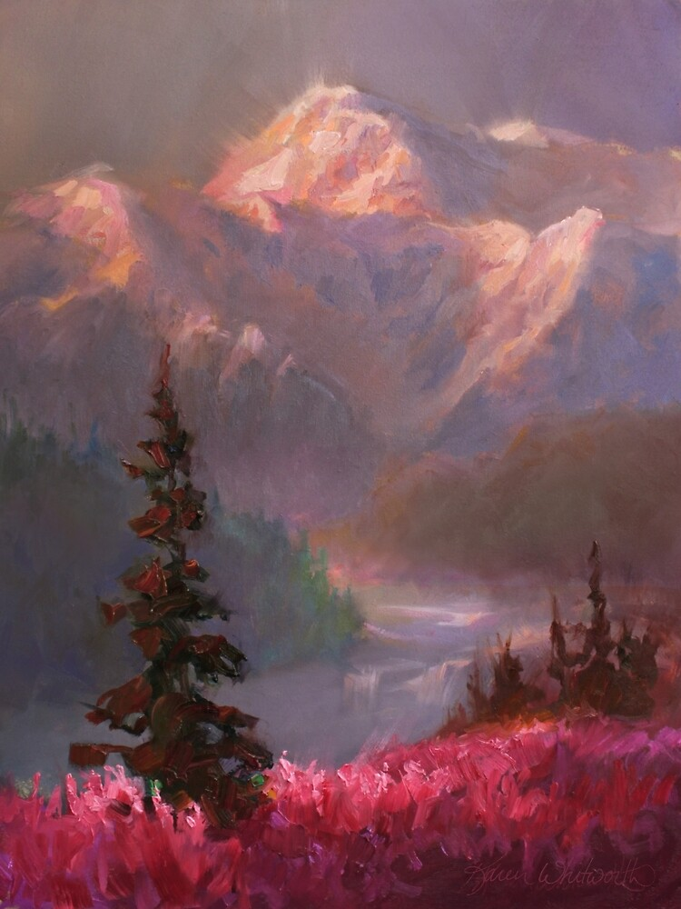 Denali Summer - Alaskan Mountains in Summer Landscape Painting by Karen Whitworth