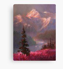 Denali Summer - Alaskan Mountains in Summer Landscape Painting Canvas Print