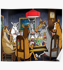 Horses Playing Poker Poster