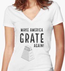 Parody Make America Grate Again Women's Fitted V-Neck T-Shirt