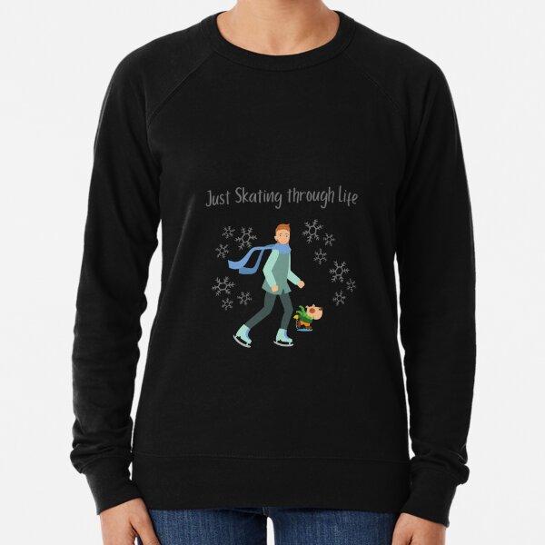Winter - Man skating with his dog Lightweight Sweatshirt