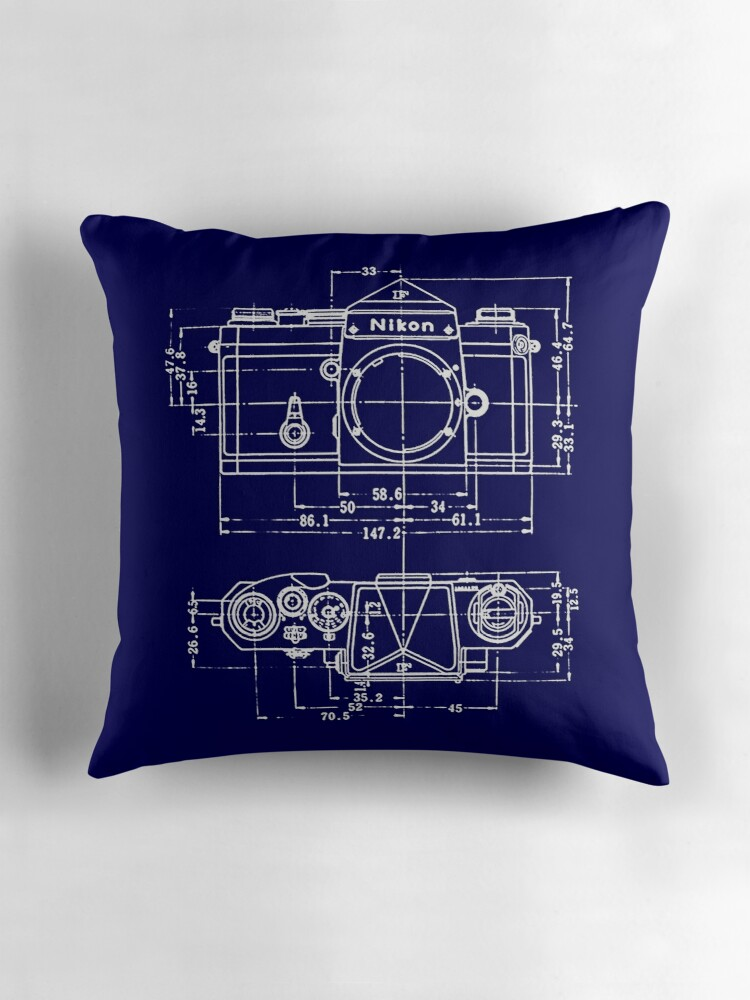 Vintage photography nikon blueprint throw pillows by vintage photography nikon blueprint by brainsontoast malvernweather Images