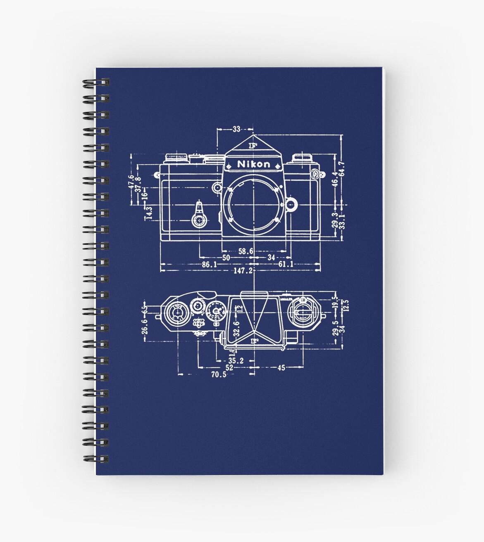Vintage photography nikon blueprint spiral notebooks by vintage photography nikon blueprint by brainsontoast malvernweather Image collections