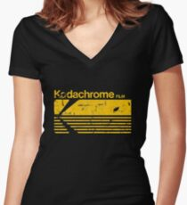Vintage Photography: Kodak Kodachrome - Yellow Women's Fitted V-Neck T-Shirt