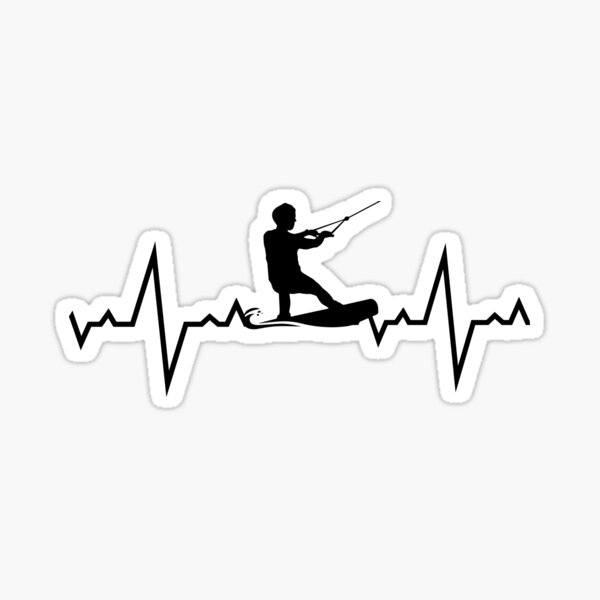 Battements de cœur de wakeboard Sticker