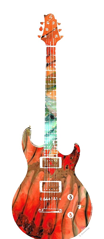 Electric Guitar 2 - Buy Colorful Abstract Musical Instrument by Sharon Cummings