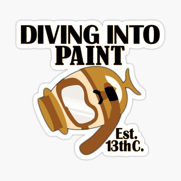 Egg diving into paint for Easter since 13th century. Funny Happy Easter day pun gift idea Sticker