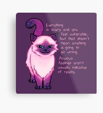Anxiety Encouragement Galaxy Cat Metal Print
