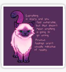 Anxiety Encouragement Galaxy Cat Sticker