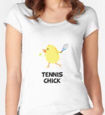Tennis-Küken Tailliertes Rundhals-Shirt
