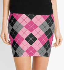 Pink and Black Dashed Argyle Mini Skirt