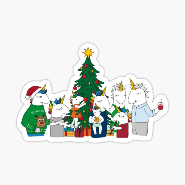 Unicorn giving presents Sticker