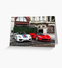 Porsche 918 Spyder & Ferrari LaFerrari Greeting Card