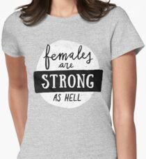 Females Are Strong As Hell | Pink Women's Fitted T-Shirt