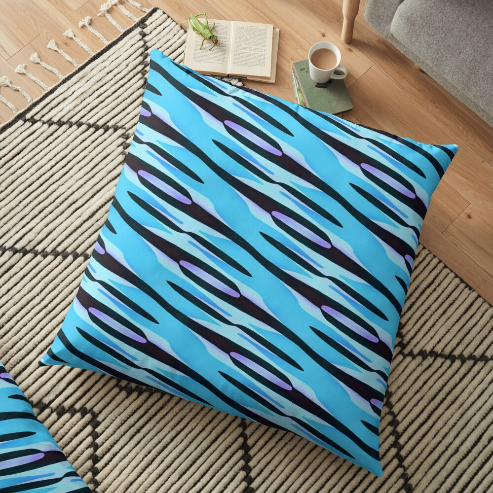 Modern Geometric Blue Purple Black Pattern Design 1787 Floor Pillow