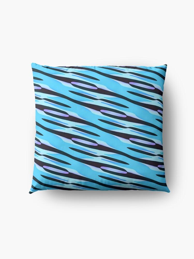 Alternate view of Modern Geometric Blue Purple Black Pattern Design 1787 Floor Pillow