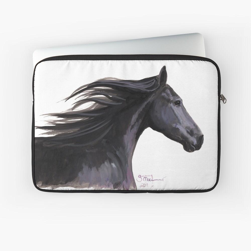 Black Friesian Horse ' BREEZE ' by Shirley MacArthur Laptop Sleeve