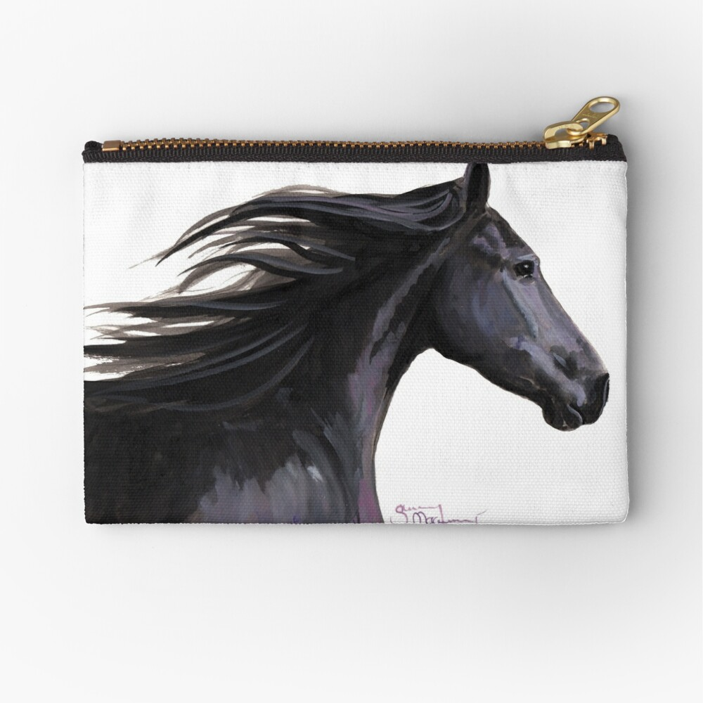 Black Friesian Horse ' BREEZE ' by Shirley MacArthur Zipper Pouch