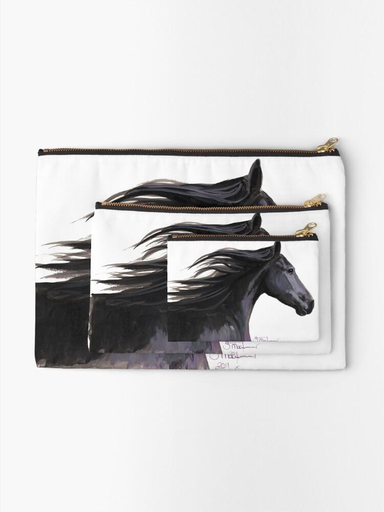 Alternate view of Black Friesian Horse ' BREEZE ' by Shirley MacArthur Zipper Pouch