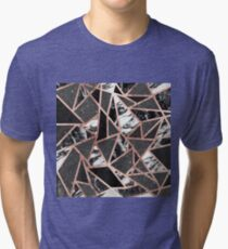 Modern Rose Gold Glitter Marble Geometric Triangle Tri-blend T-Shirt
