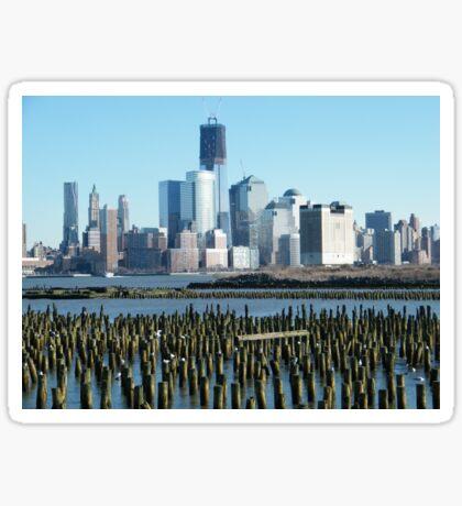 World Trade Center, Lower Manhattan, View from Hoboken, New Jersey Sticker