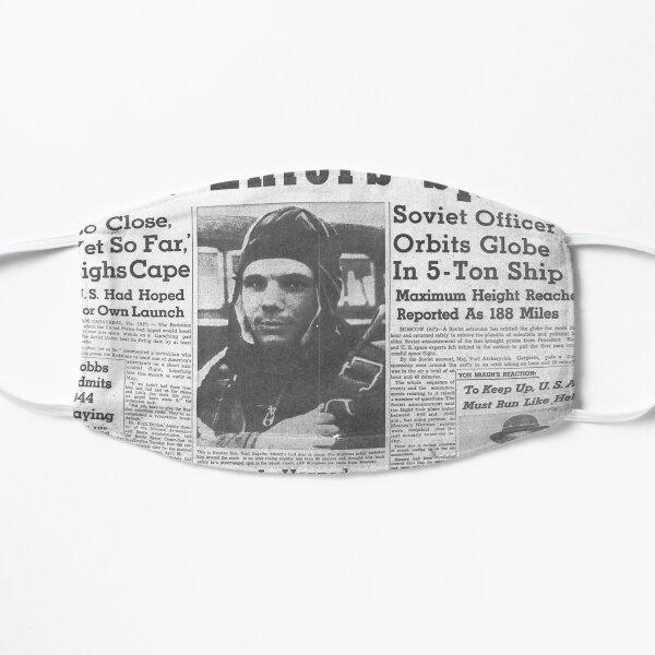 Man Enters Space. Soviet Officer Orbits Globe In 5-Ton Ship Flat Mask
