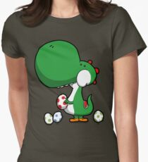 Egg Chuckin' Dinosaur Womens Fitted T-Shirt