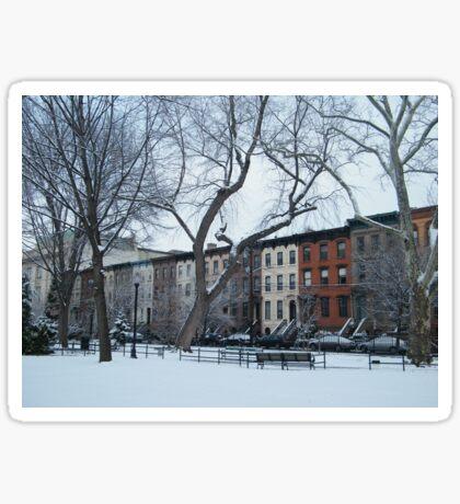 Van Vorst Park, Snow View, Jersey City, New Jersey Sticker