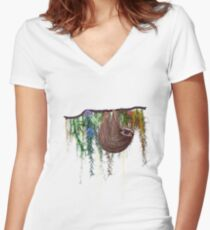 That Sloth Women's Fitted V-Neck T-Shirt