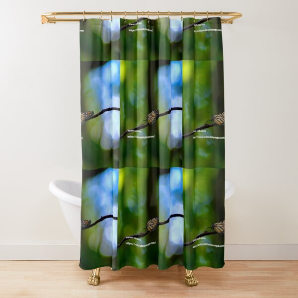 Copy of Monarch butterfly before flying in search of sun By Yannis Lobaina Shower Curtain