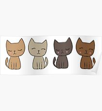 4 Little Kittens Poster