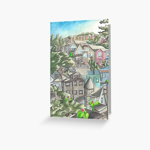 """""""The Wild Parrots of Corona Heights""""  Greeting Card"""
