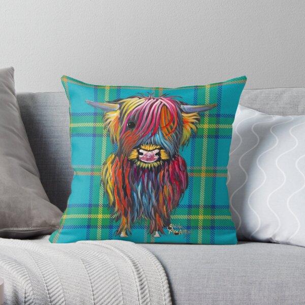 SCoTTiSH HiGHLaND CoW ' TaRTaN BRaVeHeaRT B ' by SHiRLeY MacARTHuR Throw Pillow