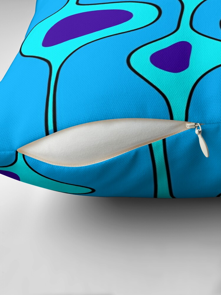 Alternate view of 50's Style Blobs 2.0 on blue Throw Pillow