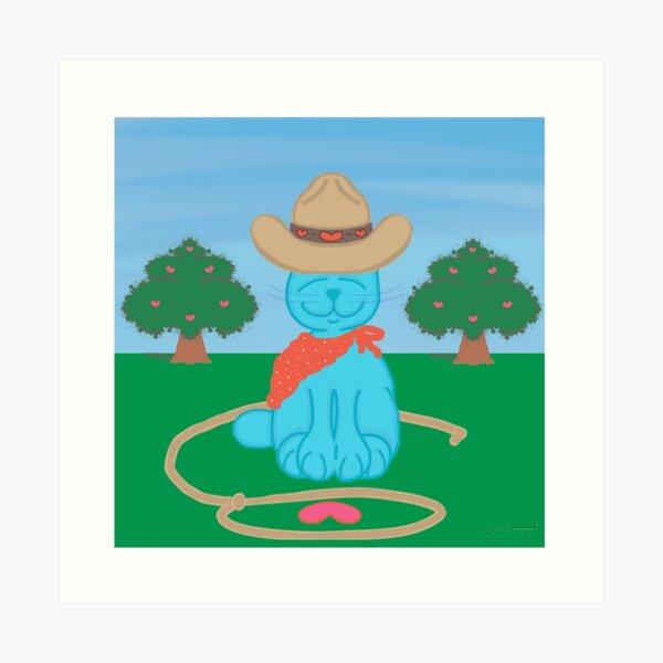 ❤️ Milo Blue Cat Lasso Love Valentine's Day Cowboy Cartoon Art Print